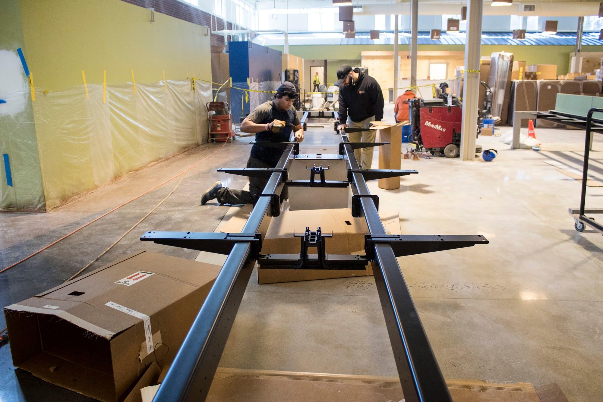 installers assembling benching
