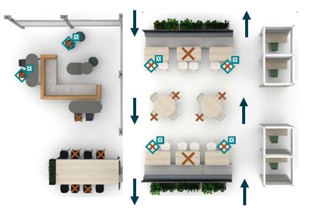 social distancing sample floorplan